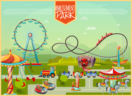 amusement: Amusement park design composition with ferris wheel swing carousel and kids cars in cartoon style flat vector illustration