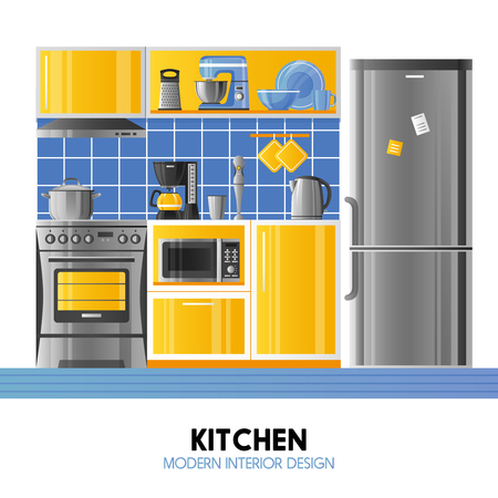 kitchen equipment: Kitchen modern interior design concept in realistic style with household equipment appliances and utensil flat vector illustration Illustration