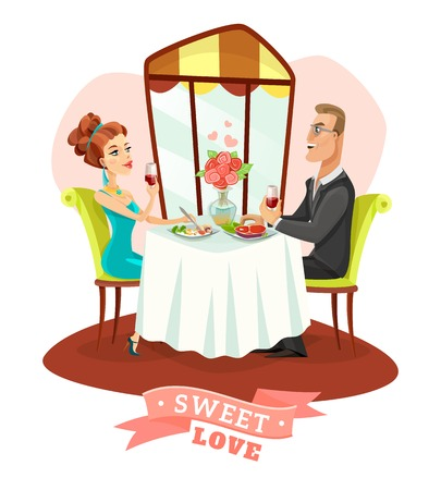 romantic couple: Young couple having romantic dinner and drinking vine in restaurant interior flat vector illustration