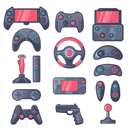 joystick: Game gadget color icons set with wireless gamepad console joystick steering wheel elements isolated vector illustration Illustration