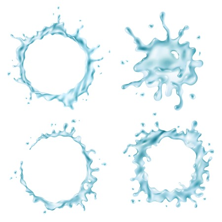 Set of different abstract shapes of blue water splashes on white background isolated vector illustration