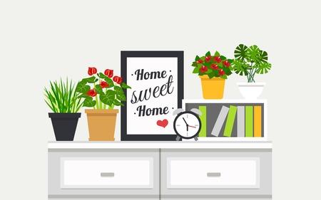 houseplants: Sweet Home modern interior design poster with houseplants and alarm clock on bookshelves flat vector illustration