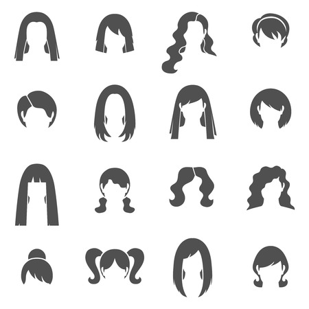 long straight hair: Woman hairstyle black white icons set with bun and ponytail flat isolated vector illustration Illustration