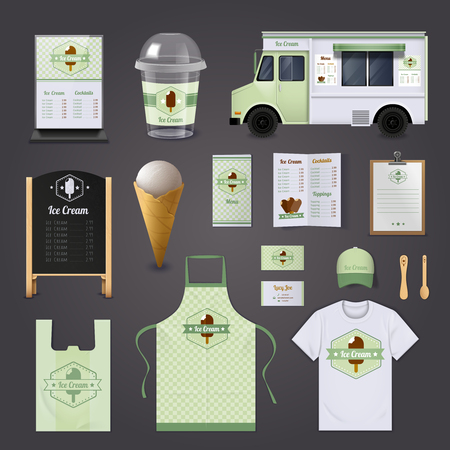 pack ice: Ice cream corporate realistic design set with menu uniform and package isolated vector illustration