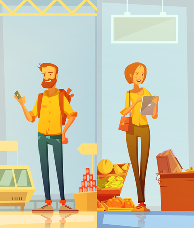 Happy cartoon buyers two vertical banners with man and woman standing in supermarket interior with gadgets in their hands flat vector illustration