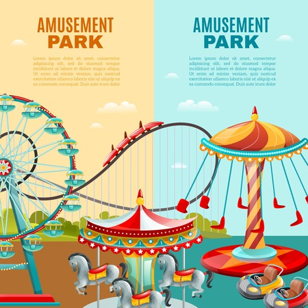 Amusement park cartoon vertical banners roller coaster ferris wheel and carousel flat vector illustration Ilustrace