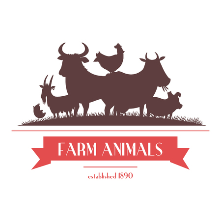 livestock: Farm shop signboard or label two-color design with livestock animals and chickens silhouettes abstract vector illustration Illustration