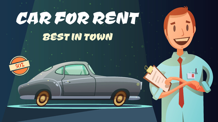 collectible: Best rental car prices with excellent service vintage poster with smiling shop owner retro cartoon vector illustration