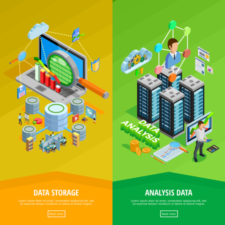 database: Big data storage and analysis technology informatio decisions 2 isometric vertical banners webpage design isolated vector illustration Illustration