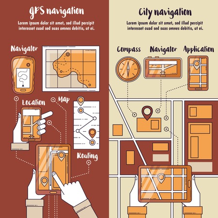routing: City navigation flat vertical banners with routing maps on screen of gadgets in people hands vector illustration