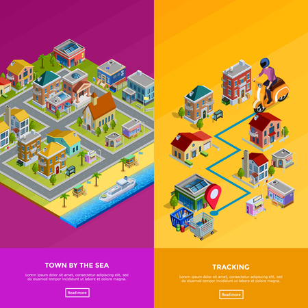 lowrise: Isometric city banners with town by sea and delivery to house isolated vector illustration