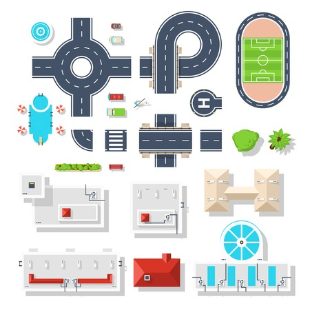 symbol traffic: Top view set of city elements like various road junctions vehicles  plants and different buildings isolated vector illustrations Illustration