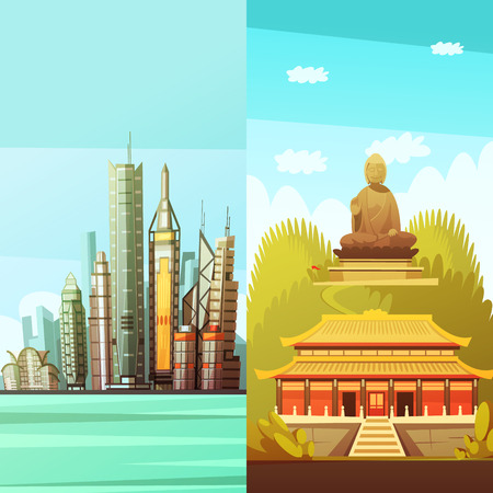 buddha statue: Hong kong vertical banners with colorful pictures of traditional east architecture and statue of big buddha flat vector illustration