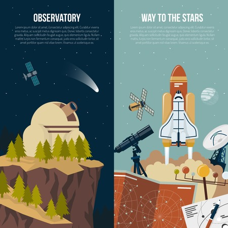 observatory: Astronomy vertical banners with observatory in mountains composition and collection of equipment for space flights flat vector illustration