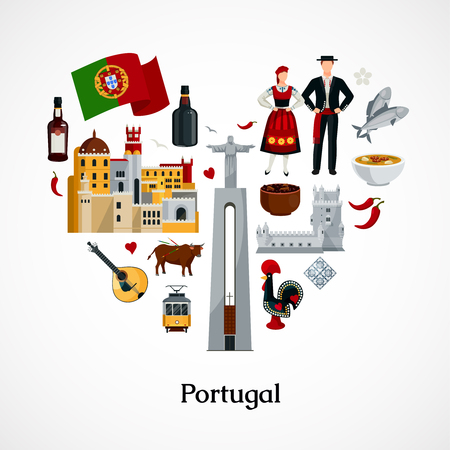 Flat design icon in form of heart with portugal national symbols attractions cuisine and attire on white background vector illustration Illustration
