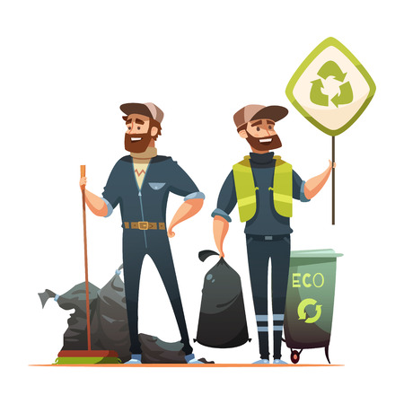 garbage bag: Ecologically responsible waste and garbage collecting for recycling cartoon poster with professional and volunteer garbageman vector illustration
