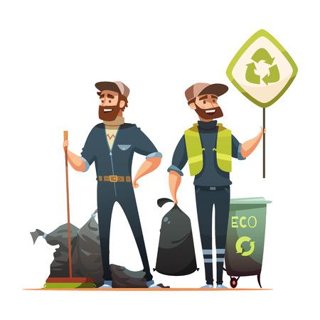 separacion de basura: residuos y basura ecológicamente responsable de recogida para el reciclaje del cartel de dibujos animados con la ilustración vectorial profesional y voluntario garbageman Vectores