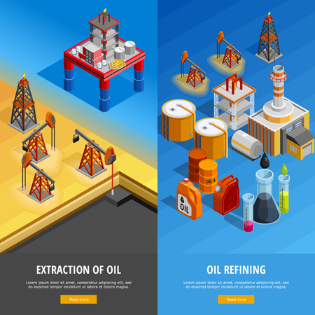 Gas oil industry production facilities 2 isometric vertical banners webpage design with offshore platform isolated vector illustration