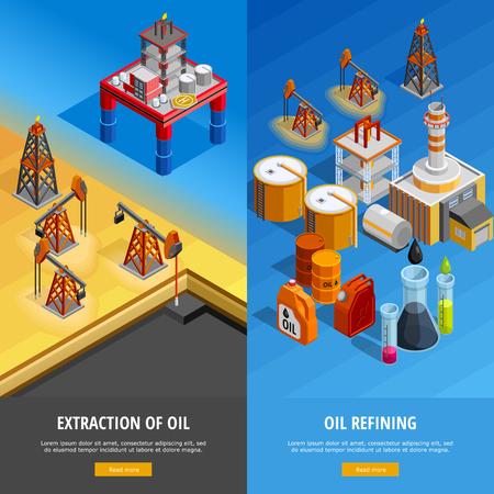 Gas olie-industrie productie-installaties 2 isometrische verticale banners webpagina ontwerp met offshore-geïsoleerde platform vector illustratie Stock Illustratie