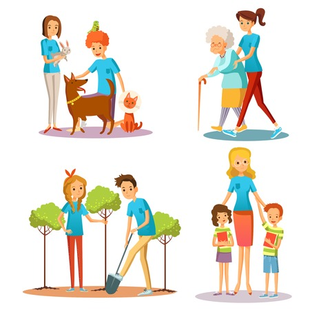 caring for: Caring for nature and people in social activities set isolated vector illustration
