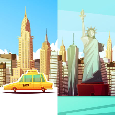 New york two vertical banners in cartoon style with manhattan landmarks skylines yellow taxi car flat vector illustration Illustration