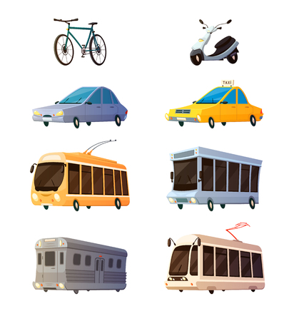 railcar: City transport retro cartoon icons set of bus tram trolley railcar bicycle yellow taxi flat images isolated vector illustration Illustration
