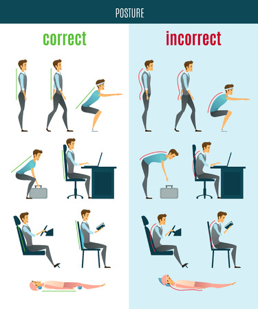 incorrect: Correct and incorrect posture flat icons with men in standing sitting and lying poses isolated vector illustration Illustration