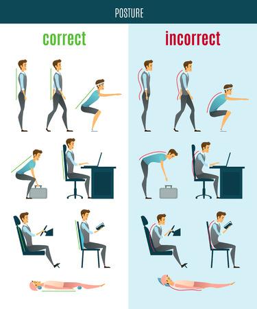 Juiste en onjuiste houding vlakke pictogrammen met mannen in staan zittende en liggende poses geïsoleerd vector illustratie