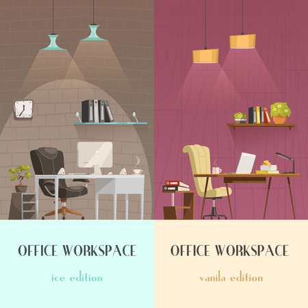 office lighting: Lighting solutions for modern office workspace pleasant environment 2 vertical cartoon banners colorful background isolated vector illustration