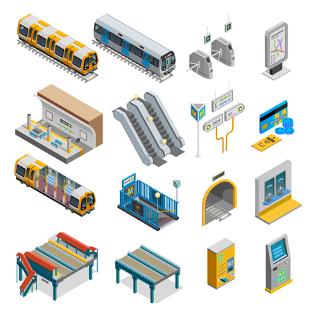 Underground isometric set with train and station symbols isolated vector illustration Vectores