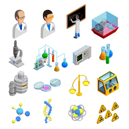 science symbols: Science isometric icons set with experiment symbols on blue background isolated vector illustration