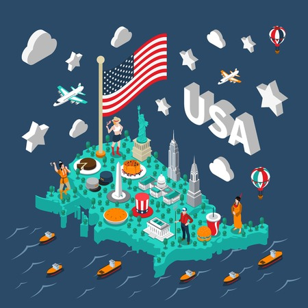 map of america: USA isometric map with touristic sights and transport on blue background vector illustration