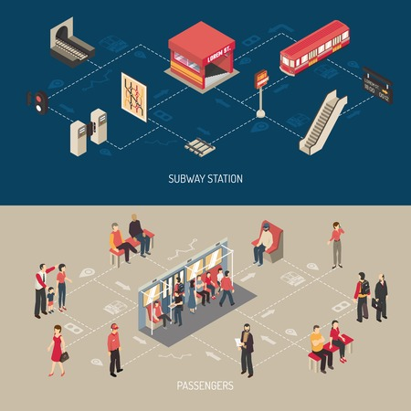 railcar: Subway isometric horizontal banners with elements of lobby and underground station and passengers going in railcar and waiting train in subway platform vector illustration Illustration