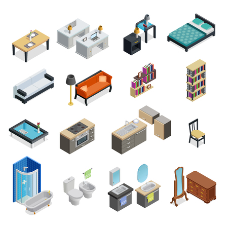 Interior isometric objects set with table chair and lamp isolated vector illustration