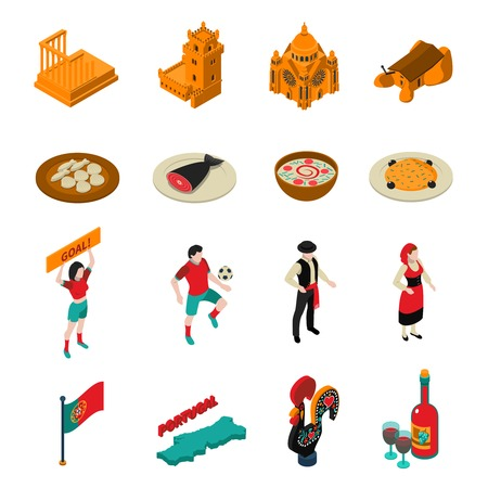 portugese: Touristic Portugal isometric icons set with football food and architecture symbols isolated vector illustration