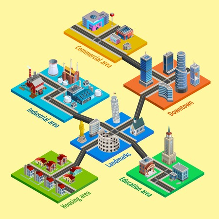 Multilevel city concept with interconnected blocks of business industrial and residential urban layers isometric poster vector illustration Illustration