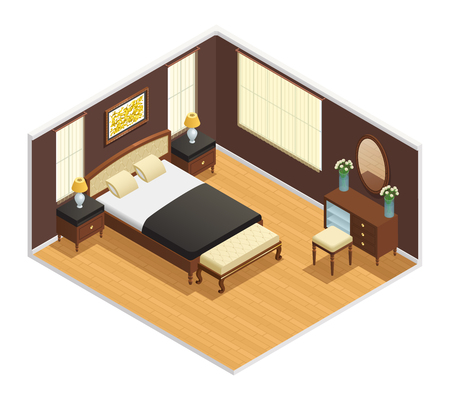 Isometric luxury interior for bedroom with double bed bedside tables and decorations vector illustration Illustration