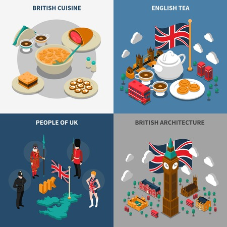 Great britain touristic isometric 2x2 icons set with british cultural elements architecture cuisine and people isolated vector illustration Illustration