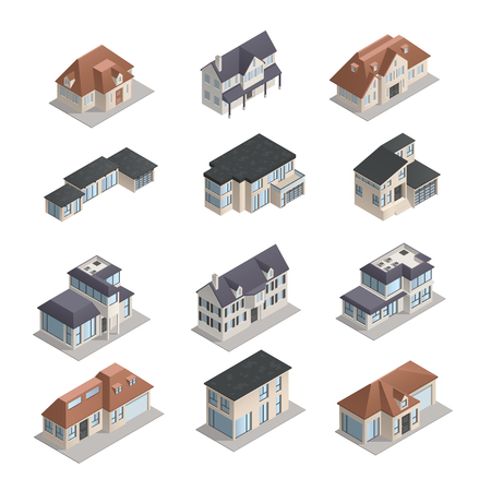 lowrise: Isometric mpdern low-rise suburban houses of different shape set isolated on white background vector illustration