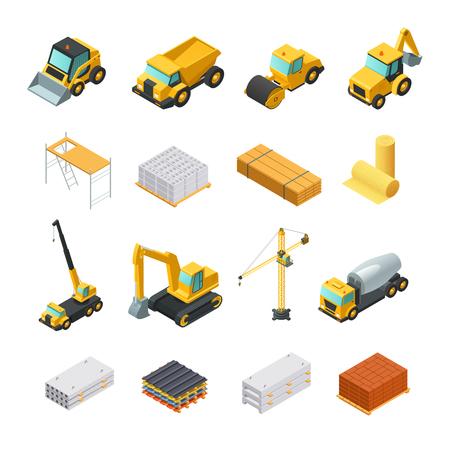 Kleurrijke isometrische bouwpictogrammen die met diverse materialen en vervoer worden geplaatst dat op witte vectorillustratie wordt geïsoleerd als achtergrond Stock Illustratie