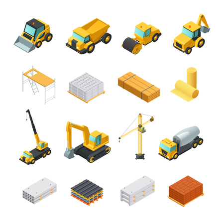 Colorful isometric construction icons set with various materials and transport isolated on white background vector illustration Illustration