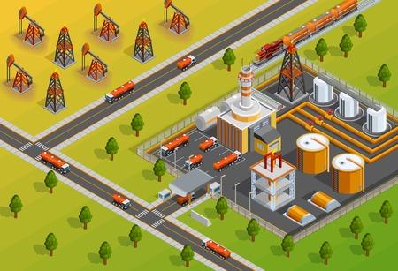 impianto impianto di raffineria di petrolio industriale per la lavorazione del petrolio greggio in benzina e gasolio manifesto isometrico illustrazione vettoriale Vettoriali