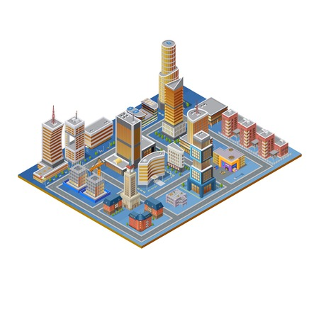 shopping malls: Isometric building set with skyscrapers towers modern and historic buildings on white background vector illustration