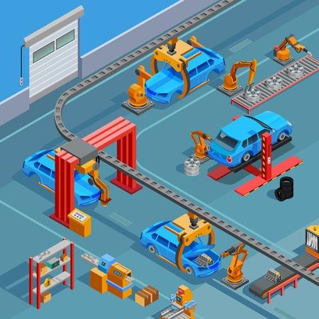 Automobilowy zasięrzutny łańcuch jednotorowy konwejer samochodowy linia linia montażowa system z kontrola nad produkcyjnego procesu isometric plakatową wektorową ilustracją