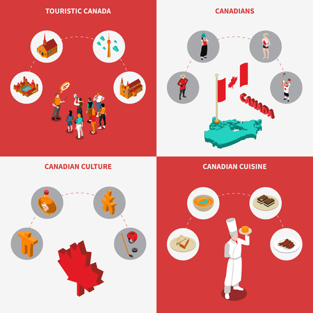 Canada touristic concept icons set with culture and cuisine symbols isometric isolated vector illustration