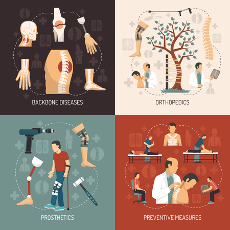 legs: Orthopedics 2x2 design concept with information about backbone diseases  prosthesis set and preventive measures flat vector illustration