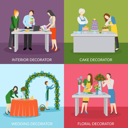 wedding reception decoration: Professional home interior decoration with floral compositions and wedding cake 4 flat icons square isolated vector illustration