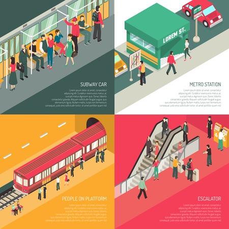 Underground metro subway station concept 4 isometric icons square with passengers on escalator and platform isolated vector illustration