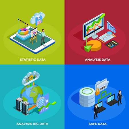 management system: Big data collecting safe storage and analytic analysis for business efficiency 4 isometric icons square isolated vector illustration