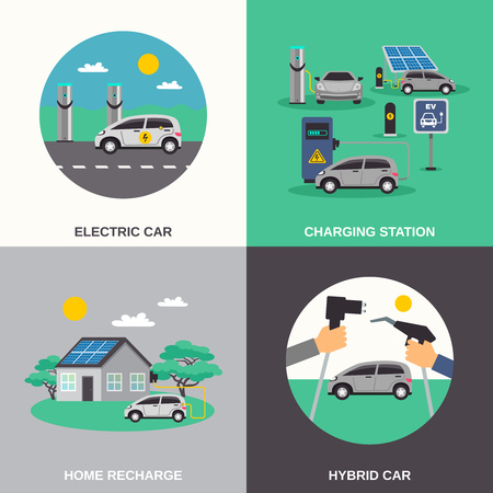 recharge: Electric hybrid cars charging stations and home recharge points 4 flat icons composition poster isolated vector illustration Illustration